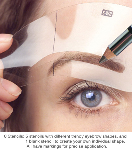 Eyebrow stencil 6 stencils shapes for pencil or powder ebay for Eyebrow templates printable